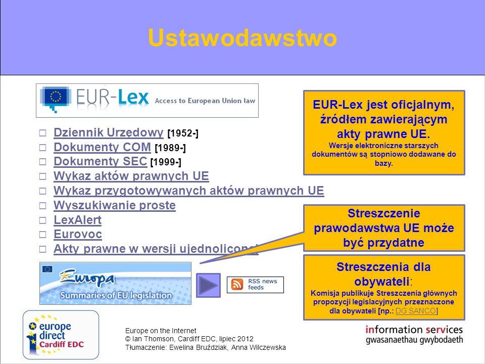 Ustawodawstwo Dziennik Urzędowy [1952-] Dokumenty COM [1989-] Dokumenty SEC [1999-] Wykaz aktów prawnych UE.